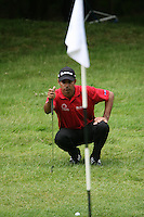 Jyoti Randhawa lines up his chip on the 13th hole during the final round of the 2008 BMW PGA Championship at Wentworth Club, Surrey, England 25th May 2008 (Photo by Eoin Clarke/GOLFFILE)