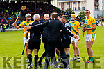 Kilmoyley mentors and players approach the Referee Fergal Horgan after the Kerry County Senior Hurling championship Final at Austin Stack Park on Sunday.