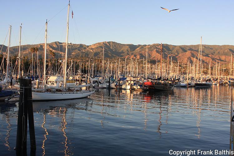 Santa Barbara Harbor in evening