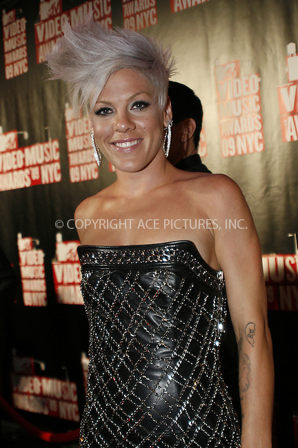 WWW.ACEPIXS.COM . . . . .  ....September 13 2009, New York City....Singer Pink outside the 2009 MTV Video Music Awards at Radio City Music Hall on September 13 2009 in New York City.....Please byline: NANCY RIVERA- ACE PICTURES.... *** ***..Ace Pictures, Inc:  ..tel: (212) 243 8787 or (646) 769 0430..e-mail: info@acepixs.com..web: http://www.acepixs.com