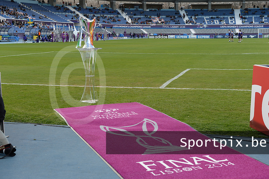 20140522 - LISBON , PORTUGAL : Champions Cup pictured during the soccer match between the women teams of Swedish Tyreso FF and German VFL Wolfsburg , in the UEFA Women's Champions League Final on Thursday 22 May 2014 in Estadio Do Restelo in Lisbon .  PHOTO DAVID CATRY