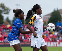 Hayley Brock (27) of Maryland controls the ball in front of Natasha Anasi (4) of Duke at Ludwig Field on the campus of the University of Maryland in College Park, MD. DC. Duke defeated Maryland, 2-1.