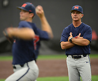 NWA Democrat-Gazette/ANDY SHUPE<br /> Ole Miss coach Mike Bianco (right) watches Friday, June 7, 2019, as pitcher Gunnar Hoglund warms up during practice in The Fowler Family Baseball and Track Training Center ahead of today's NCAA Super Regional game at Baum-Walker Stadium in Fayetteville. Visit nwadg.com/photos to see more photographs from the practices.