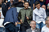 Malik Bentalha<br /> Paris Saint-Germain's Brazilian forward Neymar (C), flanked by Paris Saint Germain's (PSG) Qatari president Nasser Al-Khelaifi (L), waves to the crowd during his presentation to the fans at the Parc des Princes stadium in Paris, on August 5, 2017. Brazil superstar Neymar will watch from the stands as Paris Saint-Germain open their season on August 5, 2017, but the French club have already clawed back around a million euros on their world record investment. Neymar, who signed from Barcelona for a mind-boggling 222 million euros ($264 million), is presented to the PSG support prior to his new team's first game of the Ligue 1 campaign against promoted Amiens. # LES PEOPLE AU MATCH DE FOOT PSG VS AMIENS