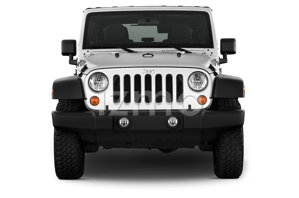 Straight front view of a 2013 Jeep Wrangler Unlimited Rubicon