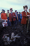 Haxey Hood Game. Haxey Lincolnshire 1970s. The Fool, Peter Bee, the Chief Boggin Arthur Clark  and the Lord, played by  Stan Boor,