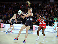 27.08.2016 Silver Ferns Te Paea Selby-Rickit in action during the Netball Quad Series match between teh Silver Ferns and England at Vector Arena in Auckland. Mandatory Photo Credit ©Michael Bradley.