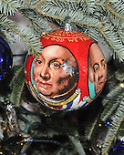 "Washington, DC - December 3, 2008 -- Close-up of one of the 369 hand-colored ornaments on the White House Christmas Tree in the Blue Room of the White House during a media preview of the 2008 holiday decorations and tasting event in Washington, D.C. on Wednesday, December 3, 2008.  This ornament is from Massachusetts. Each ornament was commissioned by individual members of Congress to ""characterize the unique, patriotic spirit of the artist's state, district or territory. Every member of the United States House and Senate were invited by Mrs. Bush to participate.  The theme of this years decorations is ""a Red, White, and Blue Christmas""..Credit: Ron Sachs / CNP"