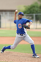 Yohan Gonzalez of the Chicago Cubs plays in a minor league spring training game against the Los Angeles Angels at the Angels complex on April 2, 2011  in Tempe, Arizona. .Photo by:  Bill Mitchell/Four Seam Images.