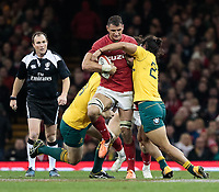 Wales' Aaron Shingler under pressure from Australia's Karmichael Hunt<br /> <br /> Photographer Simon King/CameraSport<br /> <br /> International Rugby Union - 2017 Under Armour Series Autumn Internationals - Wales v Australia - Saturday 11th November 2017 - Principality Stadium - Cardiff<br /> <br /> World Copyright &copy; 2017 CameraSport. All rights reserved. 43 Linden Ave. Countesthorpe. Leicester. England. LE8 5PG - Tel: +44 (0) 116 277 4147 - admin@camerasport.com - www.camerasport.com