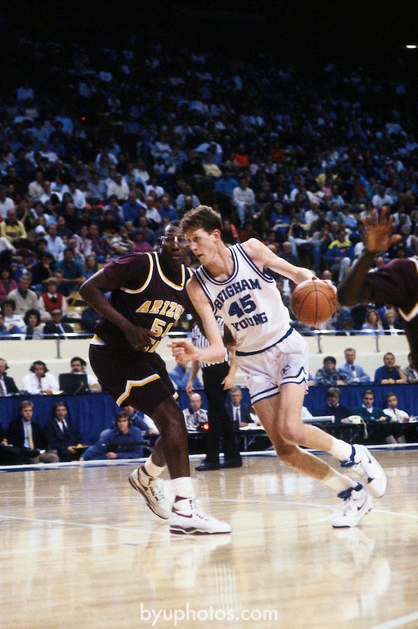 Bradley drive<br /> <br /> Basketball vs Arizona State<br /> 45 Shawn Bradley<br /> <br /> Photo by Mark A. Philbrick/BYU<br /> <br /> Copyright BYU Photo 2012<br /> All Rights Reserved<br /> photo@byu.edu  (801)422-7322
