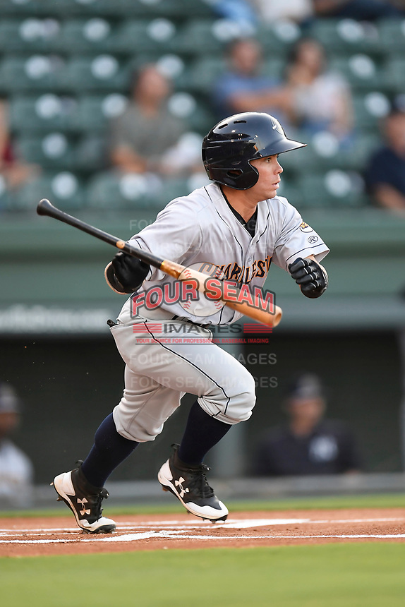 Third baseman Jose Carrera (1) of the Charleston RiverDogs bats in Game 2 of the South Atlantic League Southern Division Playoff against the Greenville Drive on Friday, September 8, 2017, at Fluor Field at the West End in Greenville, South Carolina. Charleston won, 2-1, and the series is tied at one game each. (Tom Priddy/Four Seam Images)