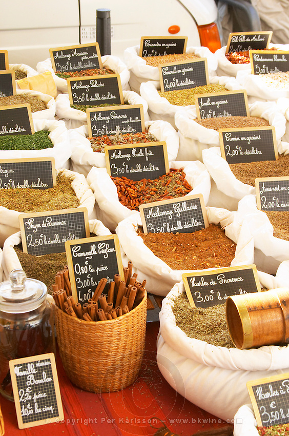 On a street market. Herbs and spices in sacks. Bordeaux city, Aquitaine, Gironde, France