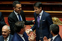 Luigi Di Maio, Giuseppe Conte <br /> Roma 05/06/2018. Senato. Voto di fiducia al nuovo Governo.<br /> Rome 5th of June. senate. Trust vote for the new Government<br /> Foto Samantha Zucchi Insidefoto