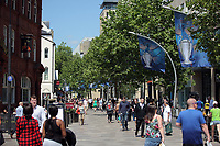 Pictured: Banners in The Hayes, Cardiff Thursday 25 May 2017<br />Re: Preparations for the UEFA Champions League final, between Real Madrid and Juventus in Cardiff, Wales, UK.