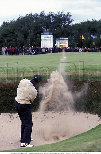 RETIEF GOOSEN (RSA) plays out of a sand bunker during the 2001 Open Golf Championship at Royal Lytham & St Annes, 010719. Photo: Glyn Kirk/Action Plus......2001..sand..trap..The Open Championship..rear..backshot..behind