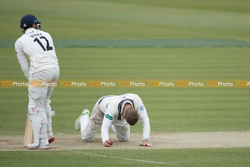David Malan of Middlesex CCC accepts a difficult return chance to remove Hameed during Middlesex CCC vs Lancashire CCC, Specsavers County Championship Division 2 Cricket at Lord's Cricket Ground on 12th April 2019