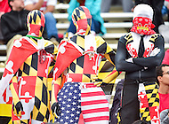 College Park, MD - OCT 1, 2016: Maryland Terrapins fans are dressed as the flag during game between Maryland and Purdue at Capital One Field at Maryland Stadium in College Park, MD. The Terps got the win 50-7 over visiting Purdue. (Photo by Phil Peters/Media Images International)