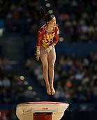 22nd March 2018, Arena Birmingham, Birmingham, England; Gymnastics World Cup, day two, womens competition; Hitomi Hatakeda (JPN) on the Vault during her competition routine