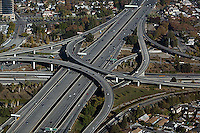 aerial photograph I-280 freeway interchange San Jose, San Clara county, California