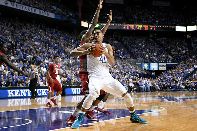 Kentucky forward Trey Lyles makes a move toward the basket during the second half of the University of Kentucky vs. Arkansas at Rupp Arena in Lexington , Ky., on Saturday, February 28, 2015. Photo by Jonathan Krueger | Staff