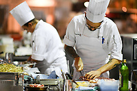 Melbourne, 30 May 2017 - Tyson Kromhout of the Salsa Bar & Grill in Port Douglas prepares the meat at the Australian selection trials of the Bocuse d'Or culinary competition held during the Food Service Australia show at the Royal Exhibition Building in Melbourne, Australia. Photo Sydney Low