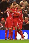 Steven Gerrard of Liverpool celebrates scoring his sides second goal - Liverpool vs. Tottenham Hotspurs - Barclay's Premier League - Anfield - Liverpool - 10/02/2015 Pic Philip Oldham/Sportimage