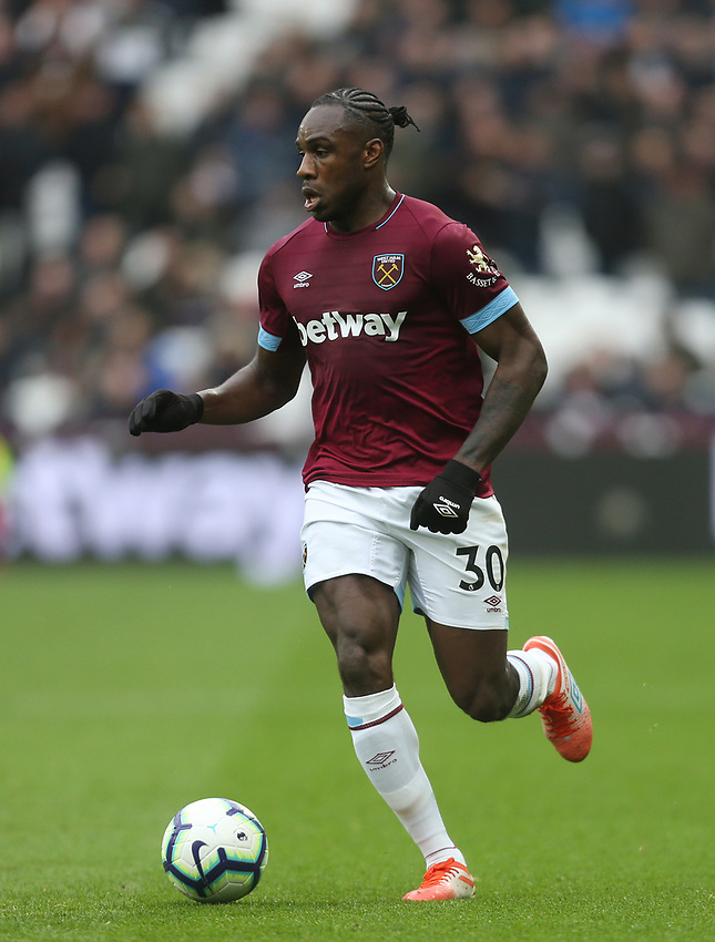 West Ham United's Michail Antonio<br /> <br /> Photographer Rob Newell/CameraSport<br /> <br /> The Premier League - West Ham United v Huddersfield Town - Saturday 16th March 2019 - London Stadium - London<br /> <br /> World Copyright © 2019 CameraSport. All rights reserved. 43 Linden Ave. Countesthorpe. Leicester. England. LE8 5PG - Tel: +44 (0) 116 277 4147 - admin@camerasport.com - www.camerasport.com