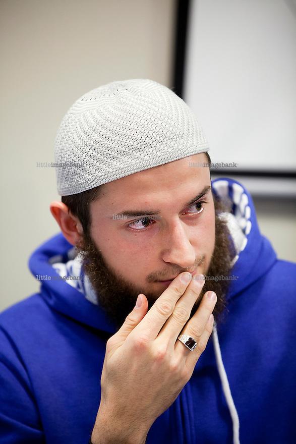 Oslo, Norge, 06.11.2012. Egzon Avdyli under en pressekonferanse i regi av profeten Ummah p&aring; Anker Hotel i Oslo. Foto: Christopher Olss&oslash;n.<br /> <br /> ***Attention editors***Egzon Avdyli (blue sweatshirt) is deseased, and thought to have been killed in combat in Syria or Iraq.***
