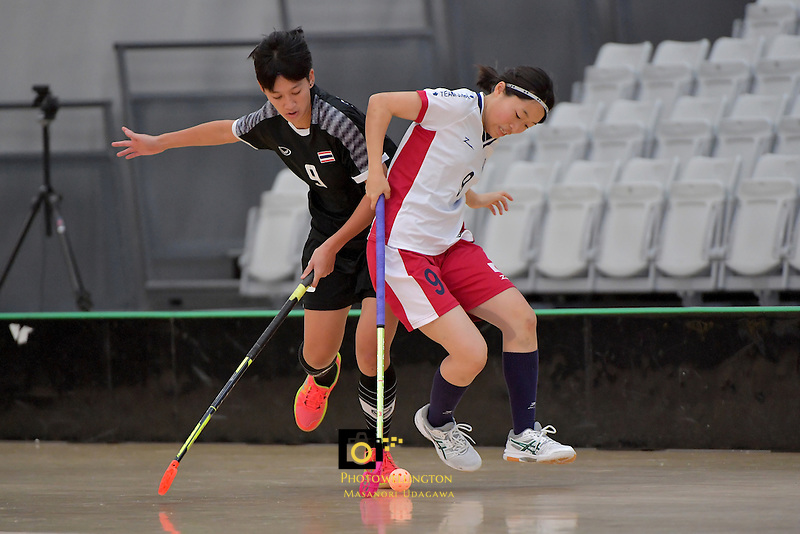 Japan's Eriko Chiba and Thailand's Khwanchanok Suksin in action during the World Floorball Championships 2017 Qualification for Asia Oceania Region - Japan v Thailand at ASB Sports Centre , Wellington, New Zealand on Saturday 4 February 2017.<br /> Photo by Masanori Udagawa<br /> www.photowellington.photoshelter.com.