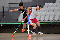 Japan&rsquo;s Eriko Chiba and Thailand&rsquo;s Khwanchanok Suksin in action during the World Floorball Championships 2017 Qualification for Asia Oceania Region - Japan v Thailand at ASB Sports Centre , Wellington, New Zealand on Saturday 4 February 2017.<br /> Photo by Masanori Udagawa<br /> www.photowellington.photoshelter.com.