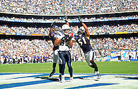 Sep. 20, 2009; San Diego, CA, USA; San Diego Chargers wide receiver (83) Vincent Jackson catches a touchdown pass in the third quarter against the Baltimore Ravens at Qualcomm Stadium in San Diego. Baltimore defeated San Diego 31-26. Mandatory Credit: Mark J. Rebilas-