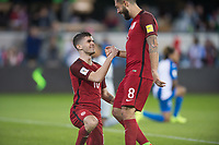 San Jose, Ca - Friday March 24, 2017: Christian Pulisic Clint Dempsey during the USA Men's National Team defeat of Honduras 6-0 during their 2018 FIFA World Cup Qualifying Hexagonal match at Avaya Stadium.