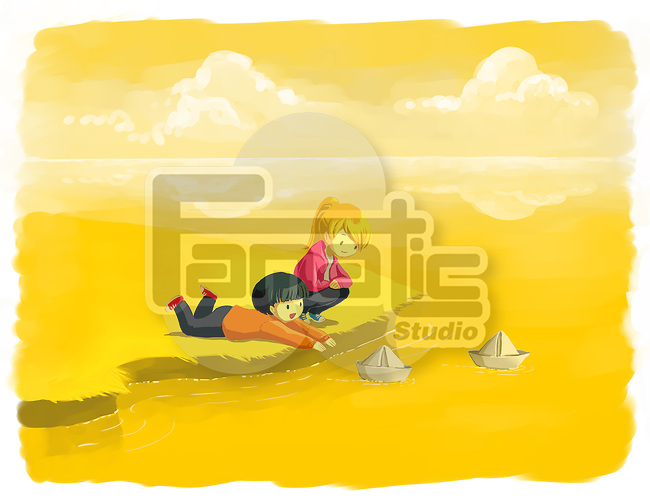 Illustration of children playing with paper boats by lake