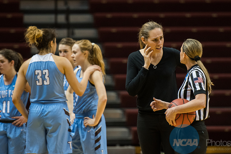 GRAND RAPIDS, MI - MARCH 18: Head coach Carla Berube of Tufts University discusses a call with a referee during the Division III Women's Basketball Championship held at Van Noord Arena on March 18, 2017 in Grand Rapids, Michigan. Amherst College defeated Tufts University 52-29 for the national title. (Photo by Brady Kenniston/NCAA Photos via Getty Images)