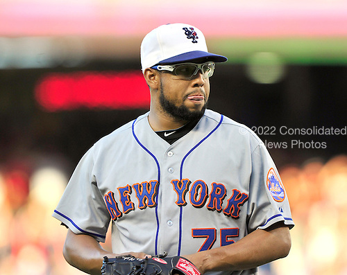 New York Mets pitcher Francisco Rodriguez (75) looks dejected after giving up 3 runs in the bottom of the ninth inning that led to a Mets 6 -5 defeat against the Washington Nationals at Nationals Park in Washington, D.C. on Saturday, July 3, 2010.  .Credit: Ron Sachs / CNP.(RESTRICTION: NO New York or New Jersey Newspapers or newspapers within a 75 mile radius of New York City)
