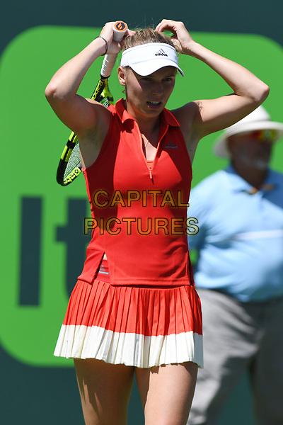 KEY BISCAYNE, FL - MARCH 30 : Caroline Wozniacki Vs Karolina Pliskova during the Miami Open at Crandon Park Tennis Center on March 30, 2017 in Key Biscayne, Florida. <br /> CAP/MPI04<br /> &copy;MPI04/Capital Pictures