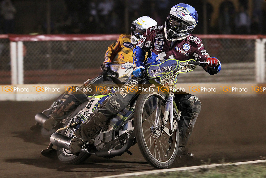 Heat 11: Justin Sedgmen (blue) ahead of Bjarne Pedersen - Lakeside Hammers vs Birmingham Brummies - Sky Sports Elite League Speedway at Arena Essex Raceway, Purfleet - 10/08/12 - MANDATORY CREDIT: Gavin Ellis/TGSPHOTO - Self billing applies where appropriate - 0845 094 6026 - contact@tgsphoto.co.uk - NO UNPAID USE.