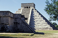 El Castillo or Pyramid of Kukulcan and the Platform of Venus, Chichen Itza, Yucatan, Mexico