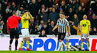 Blackburn Rovers' Craig Conway reacts after referee Kevin Friend awarded Newcastle United a penalty <br /> <br /> Photographer Alex Dodd/CameraSport<br /> <br /> Emirates FA Cup Third Round - Newcastle United v Blackburn Rovers - Saturday 5th January 2019 - St James' Park - Newcastle<br />  <br /> World Copyright &copy; 2019 CameraSport. All rights reserved. 43 Linden Ave. Countesthorpe. Leicester. England. LE8 5PG - Tel: +44 (0) 116 277 4147 - admin@camerasport.com - www.camerasport.com