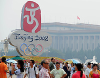 Aug. 6, 2008; Beijing, CHINA; Chinese fans congregate in Tiananmen Square in Beijing. The Olympics begin at 8pm on August 8, 2008. Mandatory Credit: Mark J. Rebilas-
