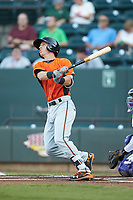 Chris Clare (2) of the Frederick Keys follows through on his swing against the Winston-Salem Dash at BB&T Ballpark on July 26, 2018 in Winston-Salem, North Carolina. The Keys defeated the Dash 6-1. (Brian Westerholt/Four Seam Images)