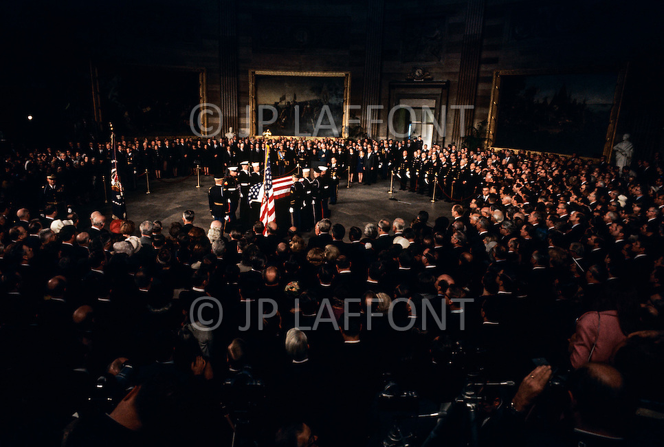 The Capitol Rotunda, Washington D.C. March 31, 1969. The casket of President Dwight Eisenhower is removed from the procession. He (October 14, 1890 - March 28, 1969) was the 34th President of the United States from 1953 until 1961, was a five-star general in the United States Army during World War II and was the first supreme commander of NATO.
