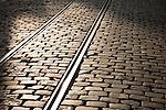 Tram tracks in Ghent, Belgium, Europe