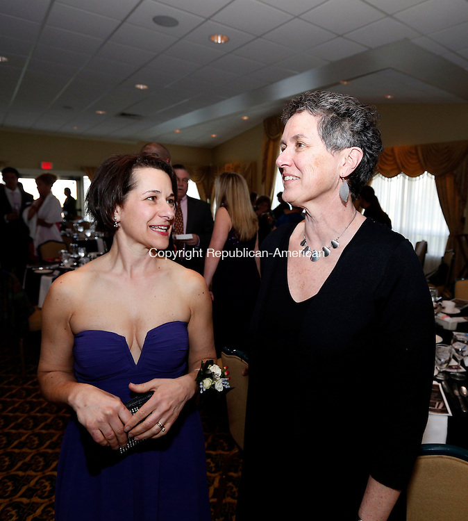 Goshen, CT- 08 May 2015-050815CM08- Cathy Coyle, left, executive director at Maria Seymour Brooker Memorial, Inc., which was the recipient of Best Supporting Organization in the Role of Empowering Women, and Barbara Spiegel, executive director at Susan B. Anthony Project, named Woman of the Year by the United Way, are photographed  during The United Way Women's Leadership Initiative Woman of the Year Gala at the Torrington Country Club in Goshen on Friday night.   Susan B. Anthony is a non-profit agency that provides crisis and support for victims of domestic violence, sexual assault and abuse.  Christopher Massa Republican-American