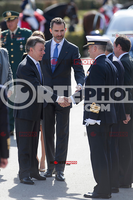 King Felipe VI of Spain during the Colombia´s President Juan Manuel Santos welcome ceremony at the Pardo Palace in Madrid, Spain. March 01, 2015. (ALTERPHOTOS/Victor Blanco) /NORTEphoto.com