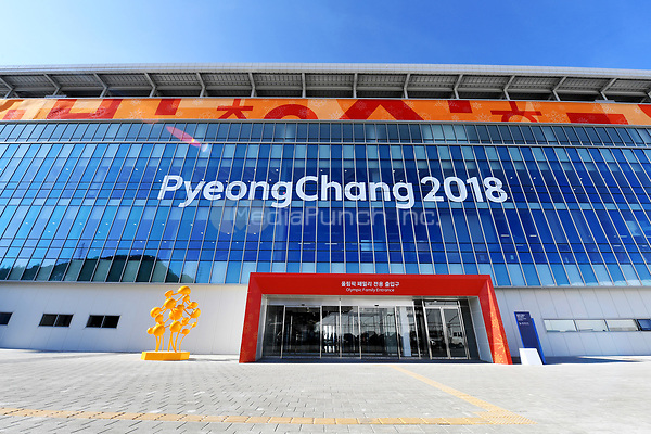 Picture of the entrance to the Olympic Stadium in Pyeongchang, South Korea, 07 February 2018. The Pyeongchang 2018 Winter Olympics take place between 09 and 25 February. Photo: Tobias Hase/dpa /MediaPunch ***FOR USA ONLY***