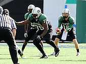 Miami Central Rockets lineman Rodrick Stephens #75 blocking during the first quarter of the Florida High School Athletic Association 6A Championship Game at Florida's Citrus Bowl on December 17, 2011 in Orlando, Florida.  The score at halftime is Armwood 16 - Miami Central 14.  (Photo By Mike Janes Photography)