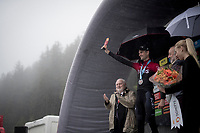 Wout Poels (NED/Ineos) appearing very briefly onto the rain-soaked podium to be celebrated as the stage winner <br /> <br /> torrential rainstorm hits Stage 7: Saint-Genix-les-Villages to Pipay  (133km)<br /> 71st Critérium du Dauphiné 2019 (2.UWT)<br /> <br /> ©kramon