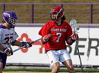 UAlbany Men's Lacrosse defeats Stony Brook on March 31 at Casey Stadium.  Jack Walsh (#7).